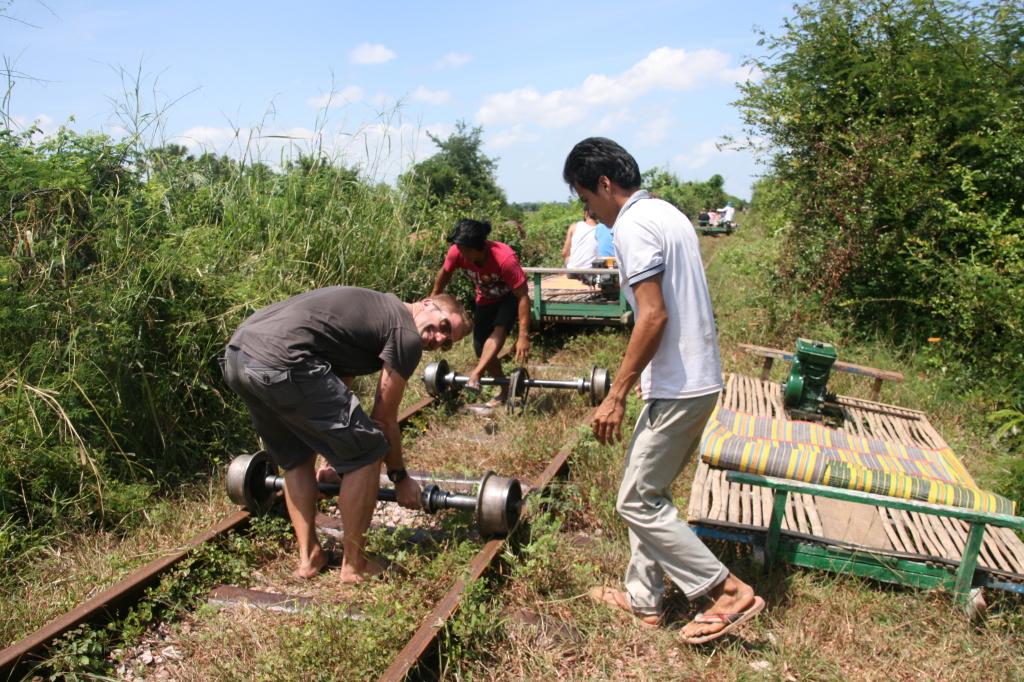 bamboo train, battambang, cambodia, holiday